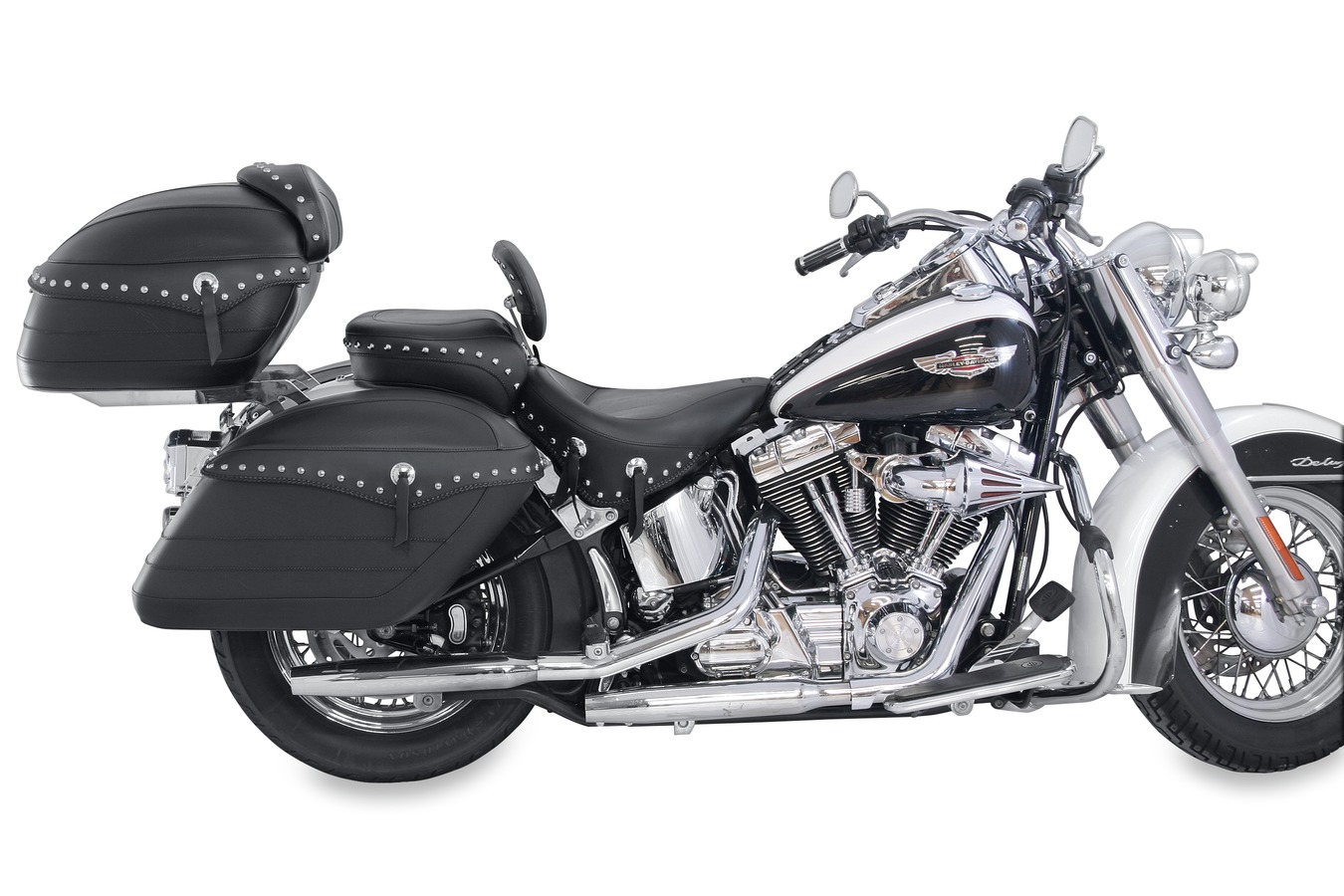 Wide Touring Solo Seat with Driver Backrest, Chrome Studded with Conchos, Black