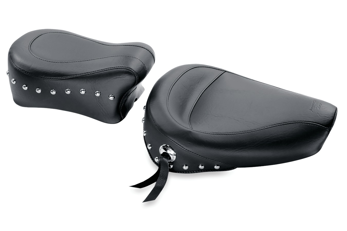 Standard Touring Solo Seat, Chrome Studded with Conchos, Black