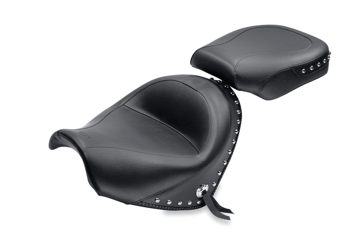 Standard Touring Two-Piece Seat, Chrome Studded with Conchos, Black