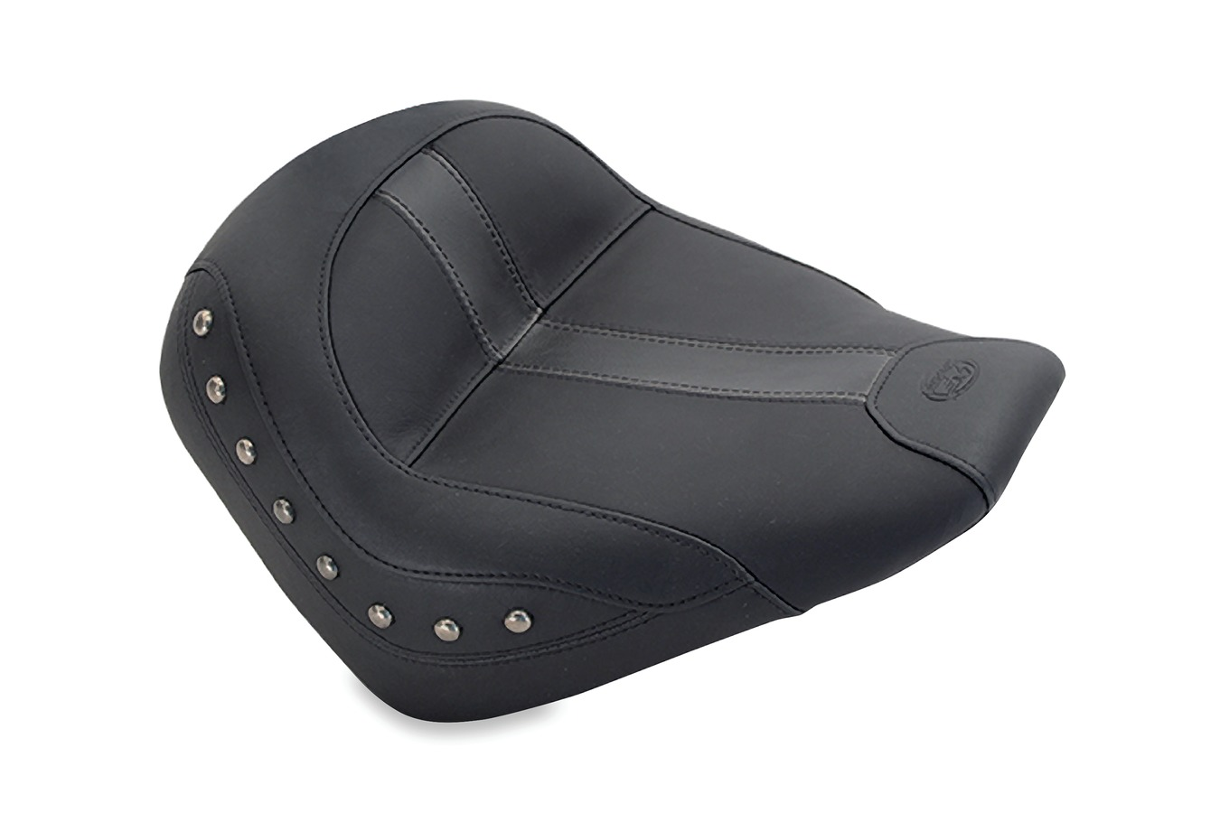 Standard Touring Solo Seat, Nickel Studded, Black