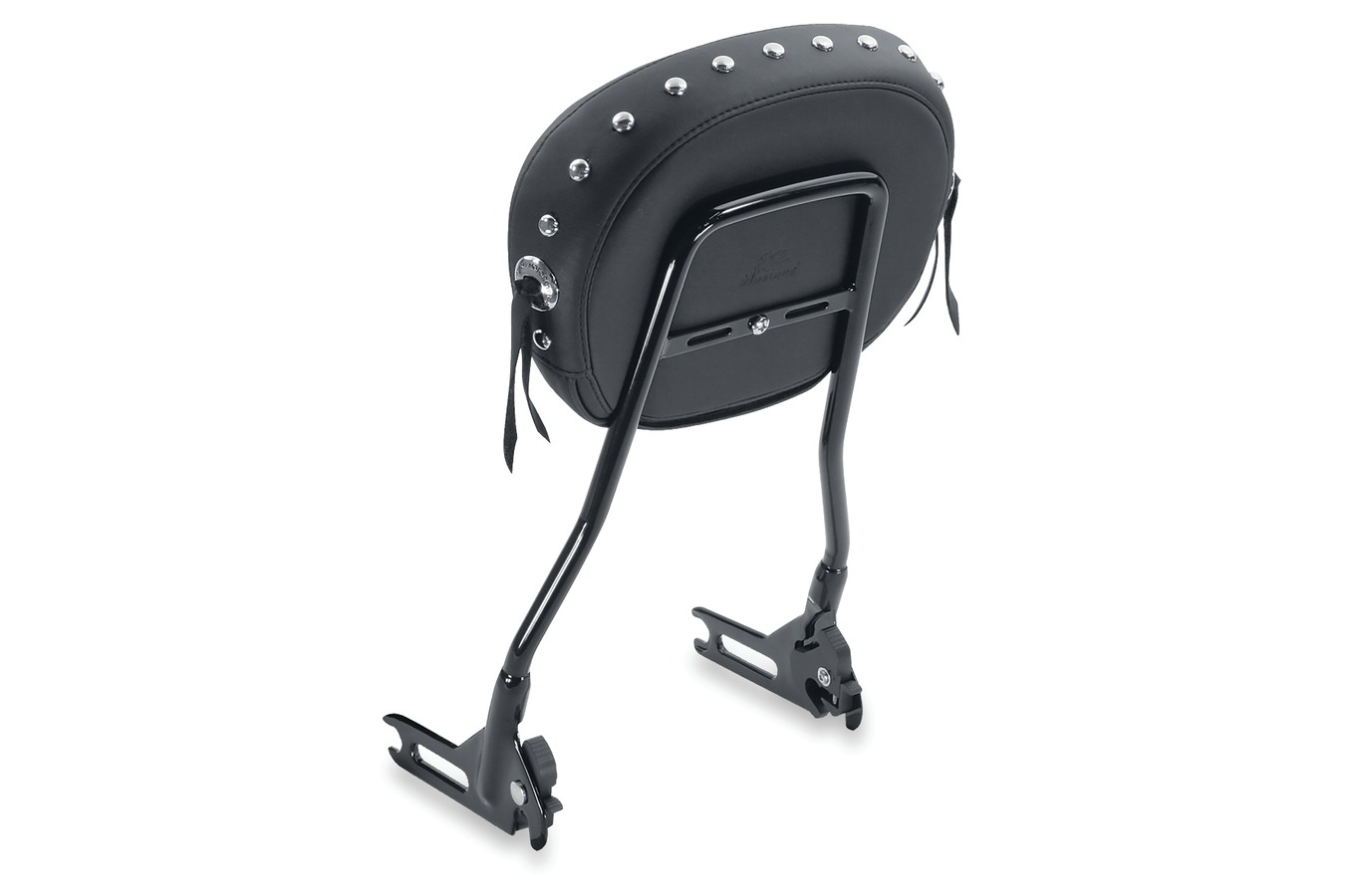 "Sissy Bar Pad, Chrome Studded with Conchos, Black, 9"" x 11.5"""