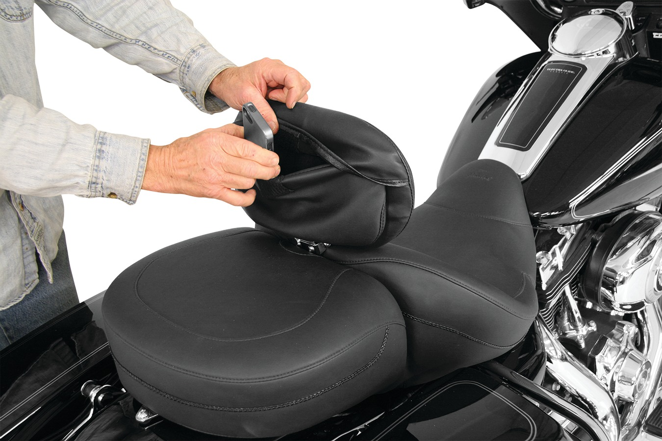 Driver Backrest Pouch Cover for Mustang Standard Touring Driver Backrest Pads, Original, Black