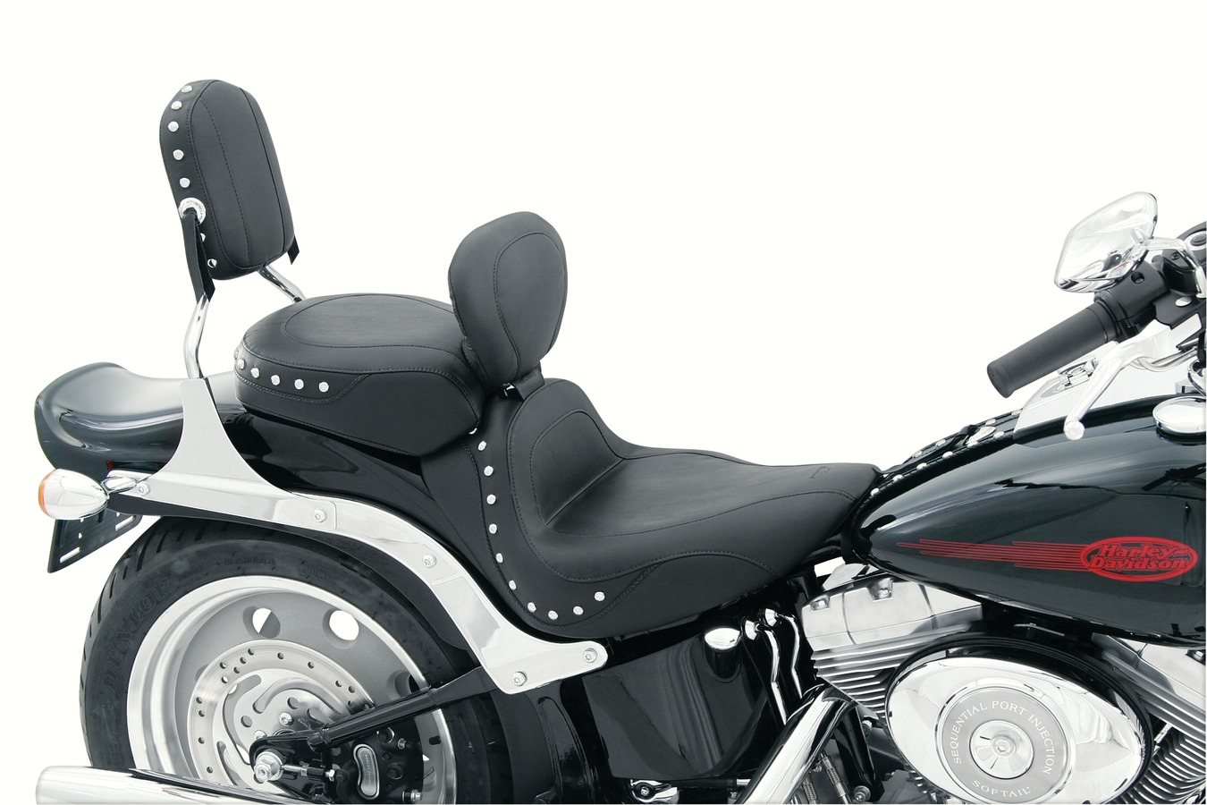 Sport Touring Solo Seat with Driver Backrest, Chrome Studded, Black