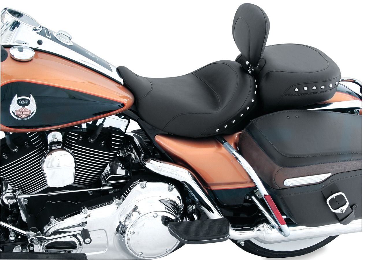 Standard Touring Solo Seat with Driver Backrest, Chrome Studded, Black