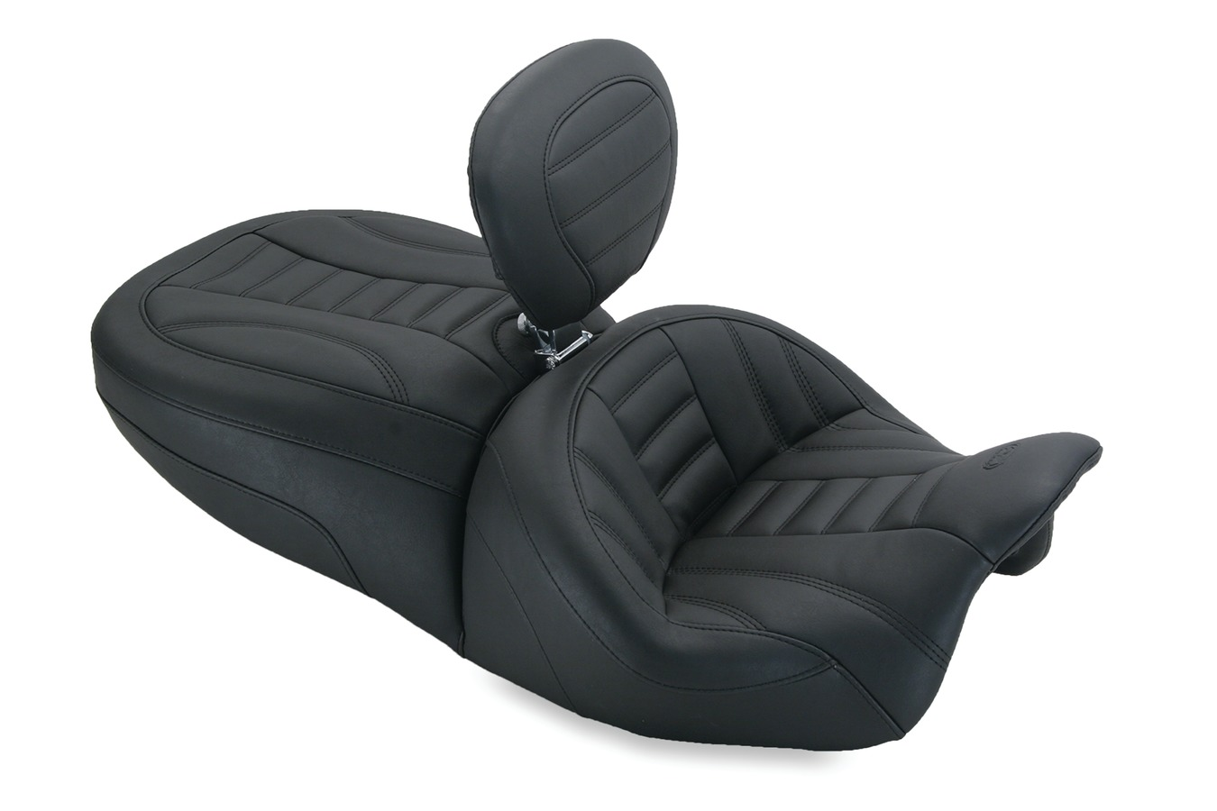 Standard Touring Deluxe One-Piece Seat with Driver Backrest, Deluxe, Black