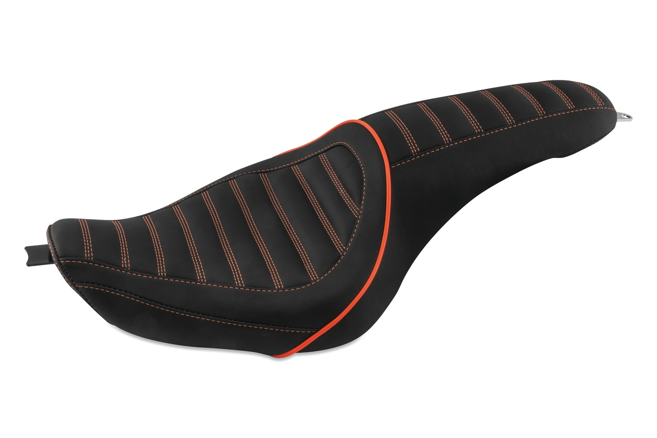 Revere Journey Stripe One-Piece Seat with Mandarin Orange Stitching, Black