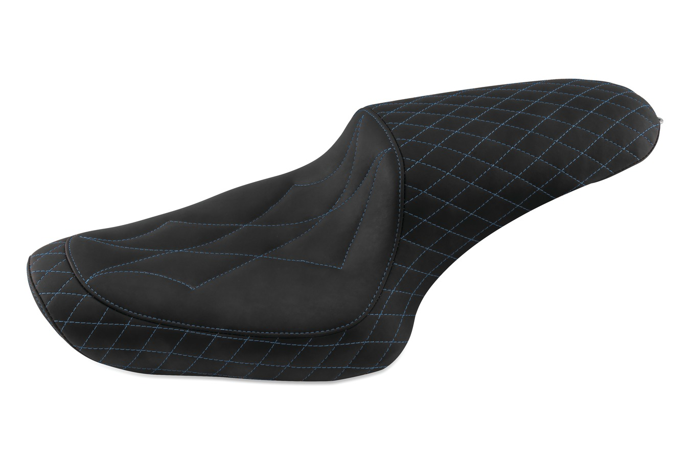 Revere Journey Diamond One-Piece Seat with Sky Blue Stitching, Black