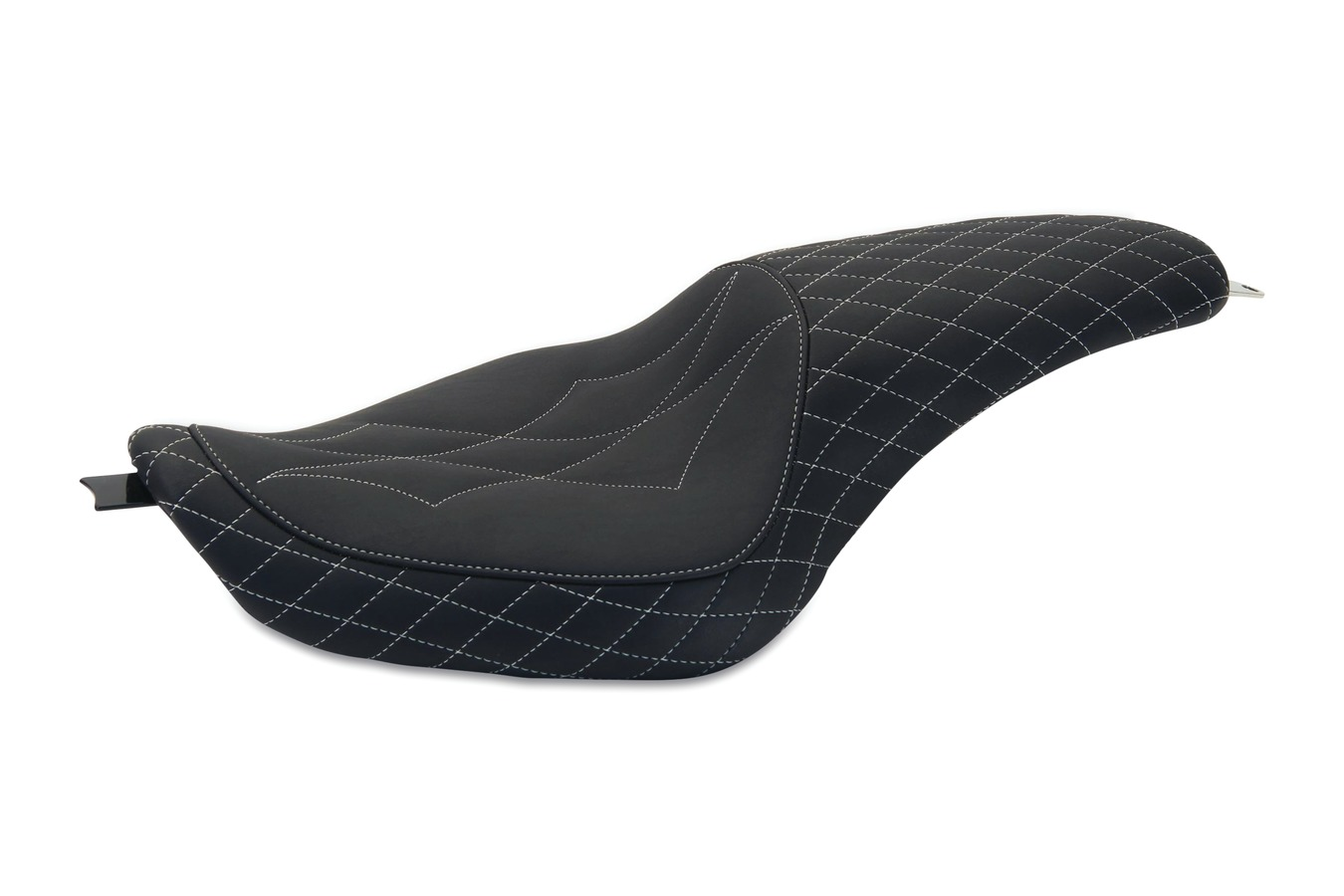 Revere Journey Diamond One-Piece Seat with Gunmetal Grey Stitching, Black