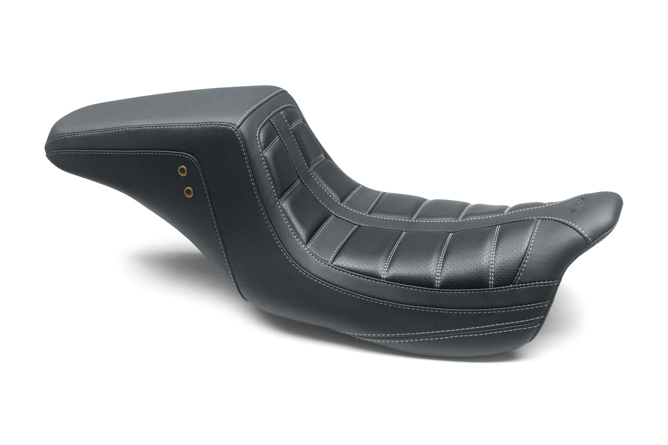 Squareback One-Piece Seat with Gunmetal Grey Stitching, Tuck-&-Roll, Black