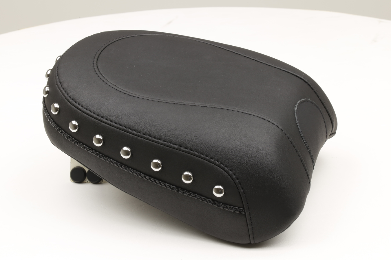 Recessed Passenger Seat for H-D Wide Touring, Chrome Studded, Black, Width: 8""