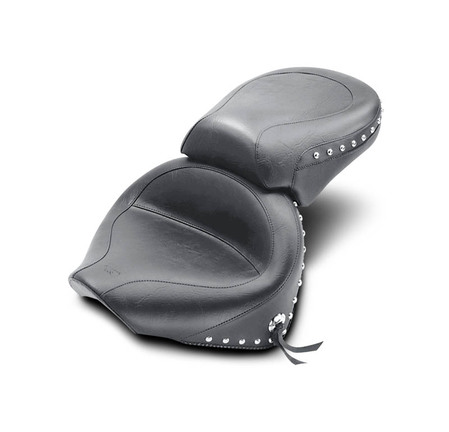 Wide Touring Two-Piece Seat, Chrome Studded with Conchos, Black