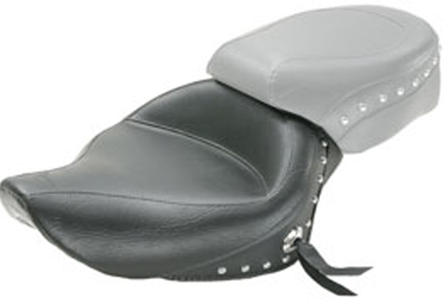 Wide Touring Solo Seat, Chrome Studded with Conchos, Black