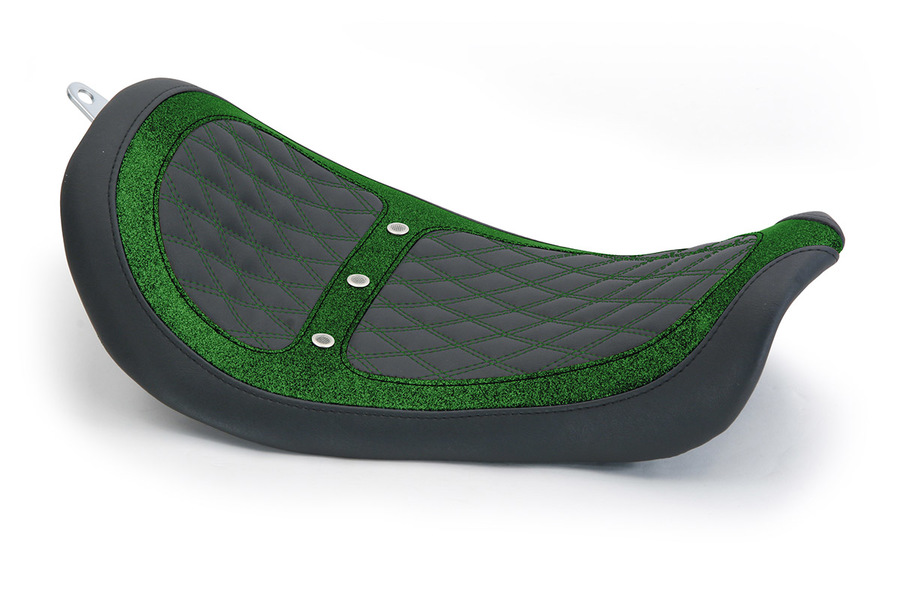 Revere Runner Vent Solo Seat with Green Stitching, Black